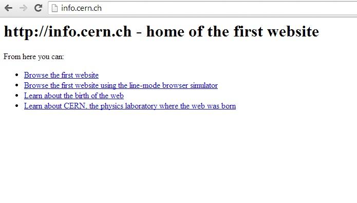 Самый первый в мире интернет сайт. Начало Интернета