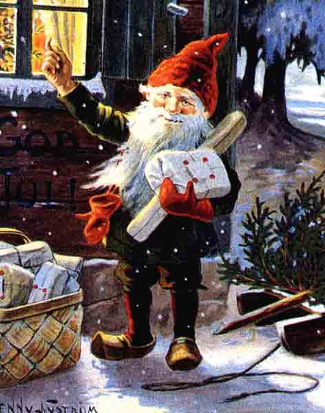 Швеция — Юль Томтен. Это такой рождественский гном, который живет в подполье каждого дома (домовой иными словами). Ему помогают очень много сказочных персонажей: Снеговик Дасти, эльф, Снежная Королева, принц и принцесса и даже ведьмы.