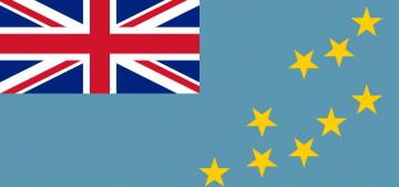 Голубой цвет не случайно выбран основой для государственного флага Тувалу. Это государство — группа островов в Тихом океане. Верхнюю левую часть флага занимает изображение флага Великобритании. Долгое время Тувалу являлось британской колонией.