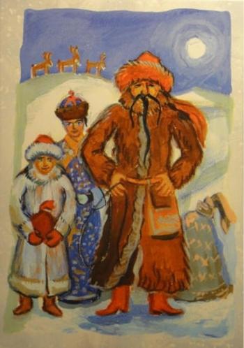 Монголия - Увлин Увгун. Тут у них работает целое новогоднее семейство во главе с Увлином Увгуном. Ему помогают Зазан Охин (девочка снег) и Шина Жила (мальчик Новый год). Кроме Нового года в этот день принято отмечать день скотовода. Поэтому Новый Год Монголы встречают в традиционных скотоводческих одеждах.