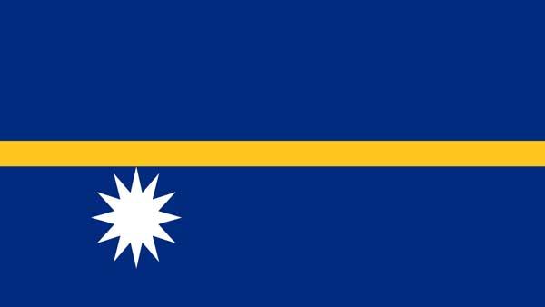 Национальный флаг Науру был принят в 1968 г. Левый нижний угол занимает белая звезда. Полоса символизирует экватор. Расположение звезды совпадает с положением республики Науру относительно экватора.