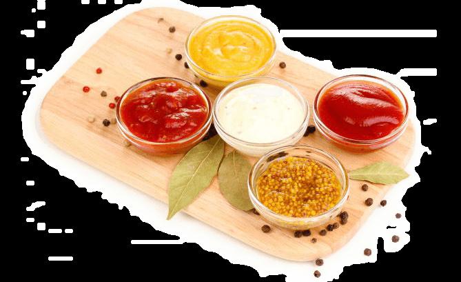 Соус. Слово заимствовано из французского языка — sause, которое в свое время происходит от латинского слова «salsa» — «соленый продукт».