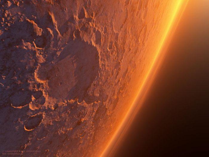 Марс — четвертая планета от Солнца (соседняя с нашей Землей). Размеры ее невелики и в солнечной системе она занимает лишь 7-е место. Самые интересные факты о Марсе