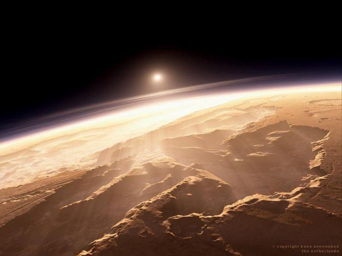 Так как на Марсе нет озонового слоя, то с каждым восходом солнца планета получает огромную дозу радиации. Восход солнца на Марсе